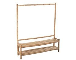 Ławka z wieszkaiem Entrance Wood Natural, drewno, 180x150x40 cm (JL91129)