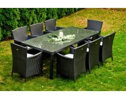 Zestaw mebli ogrodowych stół i krzesła Gustaw II z tehnorattanu czarny
