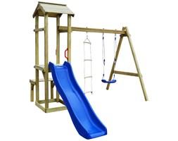 vidaXL Plac zabaw ze zjeżdżalnią, huśtawką i drabinką, drewno FSC
