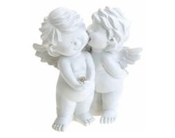 Figurka aniołków, biała, 13,5x12x8 cm