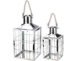Lampiony metalowe, srebrne, komplet 2 szt.
