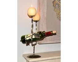 Stojak na butelkę i świece, czarno-złoty, 37x13 cm