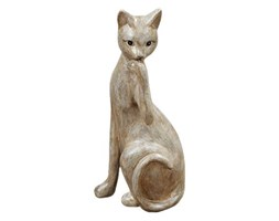 Figurka podpierającego głowę kota, 25x8x9 cm