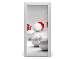 Naklejka samoprzylepna na drzwi Czerwono-białe kule