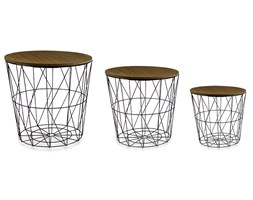 Stoliki kawowe zestaw stolików komplet z drewnianym blatem 3 szt. czarne UC60726-20