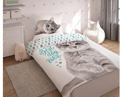 Pościel bawełniana 140x200 Kotek szary kot biała miętowa
