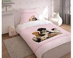 Pościel bawełniana 140x200 Psy koty zwierzaki różowa kropeczki