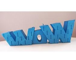 Candellana WOW Sign Candle świeca dekoracyjna WOW Napis 1 Outlet II gatunek - Blue Metallic
