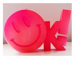 Candellana OK Sign Candle świeca dekoracyjna Jest OK! Smile Emotikon outlet II gatunek- Pink Pearl