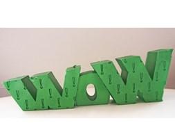 Candellana WOW Sign Candle świeca dekoracyjna WOW Napis 1 Outlet II gatunek - Green Metallic