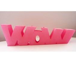 Candellana WOW Sign Candle świeca dekoracyjna WOW Napis 1 Outlet II gatunek - Light Pink Pearl