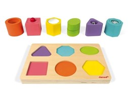 """Puzzle sensoryczne drewniane """"Kształty i dźwięki"""""""