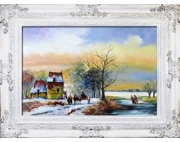 Pejzaż tradycyjny - Zima na wsi - 90x120 cm - G16843