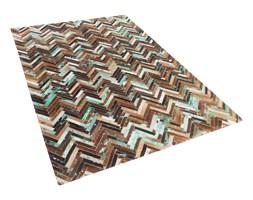 Dywan - brązowo - beżowo - niebieski - skóra - 140x200 cm - AMASYA
