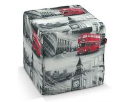 Dekoria Pokrowiec na pufę kostke, biało-czarno-czerwone motywy Londynu, kostka 40x40x40 cm, Comics