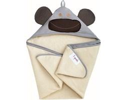 Ręcznik dziecięcy z kapturem 3 sprouts małpka szara
