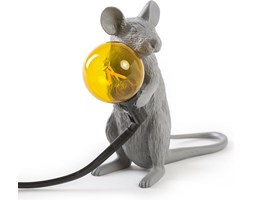 Lampa Mouse szara siedząca