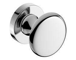 Srebrna, chromowa gałka do drzwi ORBIS z szyldem okrągłym R, CORONA PREMIUM DOOR HANDLES
