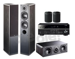 Yamaha MusicCast RX-V485 (czarny), Indiana Line Nota 550 X/740 X (czarny dąb) / Yamaha 2x WX-021 (czarny)