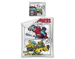 Pościel bawełniana 160x200 Transformers roboty komiks biała