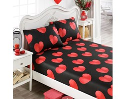 274c8d2946226e Prześcieradło Kapel 100x200 cm z dwiema poszewkami na poduszki 50x70 cm czerwone  serca