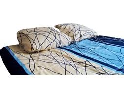 POŚCIEL satyna bawełniana, niebiesko-kremowa 200x220cm