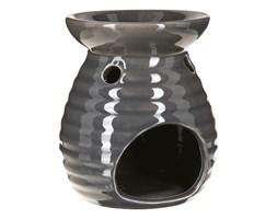 Kominek zapachowy do olejków, na olejki, ceramiczny domek, kolor szary z fakturą prążków