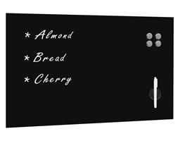 vidaXL Ścienna tablica magnetyczna, szklana, czarna, 100 x 60 cm