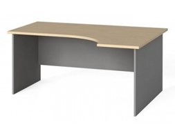 Stół biurowy ergonomiczny 160x120 cm, brzoza, prawy