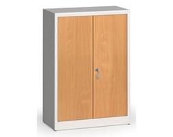 Szafy spawane z laminowanymi drzwiami, 1150 x 800 x 400 mm, RAL 7035/buk