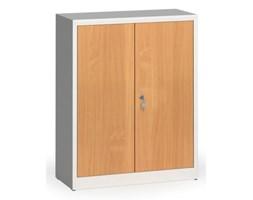 Szafy spawane z laminowanymi drzwiami, 1150 x 920 x 400 mm, RAL 7035/buk
