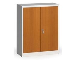 Szafy spawane z laminowanymi drzwiami, 1150 x 920 x 400 mm, RAL 7035/czereśnia