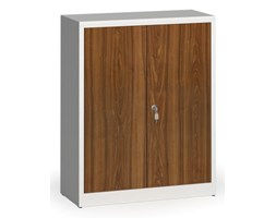 Szafy spawane z laminowanymi drzwiami, 1150 x 920 x 400 mm, RAL 7035/orzech