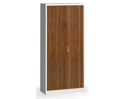 Szafy spawane z laminowanymi drzwiami, 1950 x 920 x 400 mm, RAL 7035/orzech