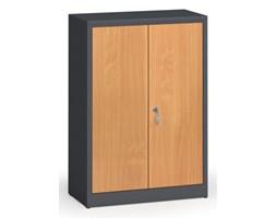 Szafy spawane z laminowanymi drzwiami, 1150 x 800 x 400 mm, RAL 7016/buk
