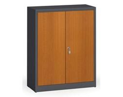 Szafy spawane z laminowanymi drzwiami, 1150 x 920 x 400 mm, RAL 7016/czereśnia