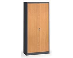 Szafy spawane z laminowanymi drzwiami, 1950 x 920 x 400 mm, RAL 7016/buk