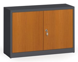 Szafy spawane z laminowanymi drzwiami, 800 x 1200 x 400 mm, RAL 7016/czereśnia