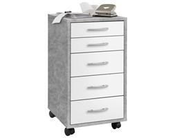 FMD Ruchoma szafka z 5 szufladami, betonowa szarość i biel