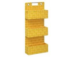 Półka łazienkowa pleciona, 3-poziomowa, wisząca, kolor żółty