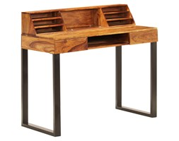 vidaXL Biurko, 110x55x94 cm, lite drewno sheesham i stal