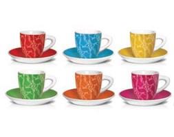 BIALETTI LE COLORATE Komplet 6 kolorowych filiżanek ze spodkami do kawy / scapol