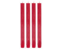 Zestaw 4 rustykalnych świec w kolorze czerwonym, wys. 24,7cm