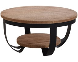 Stolik kawowy drewniany, 2 poziomy, okrągły, Ø 70 cm
