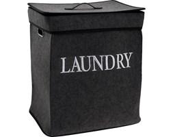 Podwójny kosz na pranie, 2-komorowy pojemnik łazienkowy, filcowy, kolor czarny