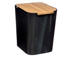 Czarny kubeł na śmieci z bambusową pokrywką, mały kosz do łazienki, kosz na odpady kuchenne, kosz na śmieci 5L