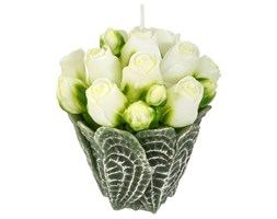Świeczka dekoracyjna BUKIET RÓŻ, białe kwiaty, Atmosphera