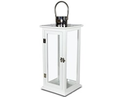 ANABELLE lampion biały drewniany ze srebrną metalową górą, wys. 49 cm