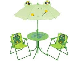 Zestaw ogrodowy Żabki stolik z dwoma krzesełkami i parasolem