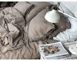 Lniana poszewka na poduszkę z falbanką Hazelnut